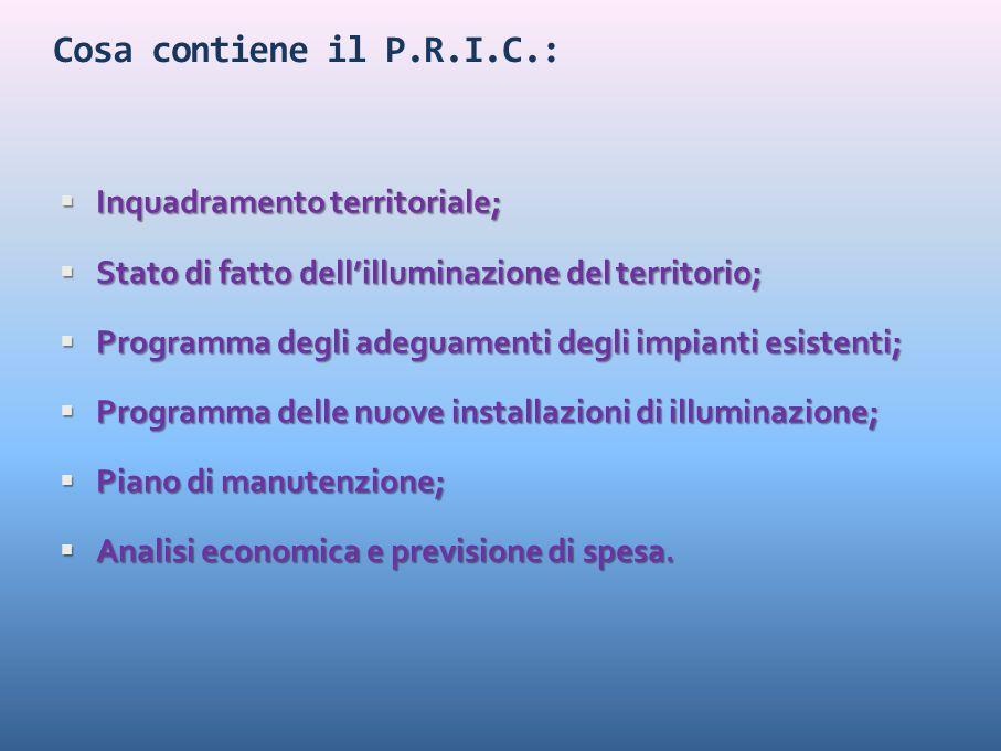 Cosa contiene il P.R.I.C.:  Inquadramento territoriale;  Stato di fatto dell'illuminazione del territorio;  Programma degli adeguamenti degli impia
