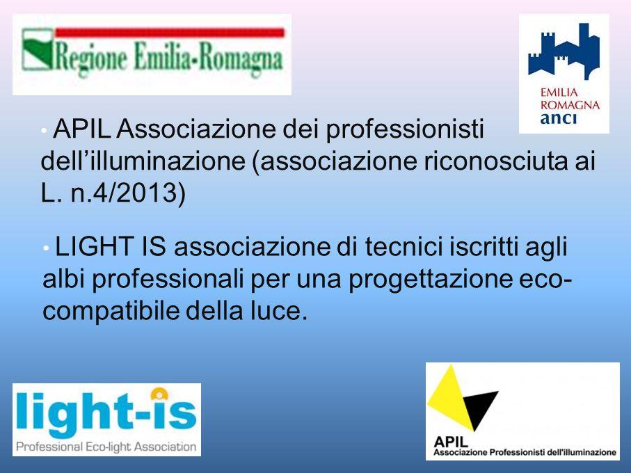 APIL Associazione dei professionisti dell'illuminazione (associazione riconosciuta aiL. n.4/2013) LIGHT IS associazione di tecnici iscritti agli albi