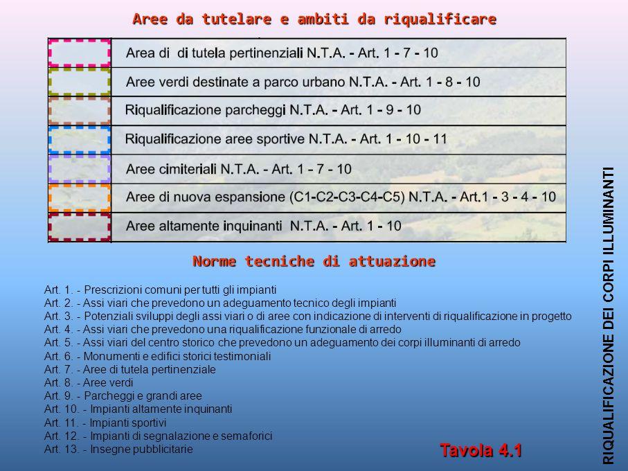 Aree da tutelare e ambiti da riqualificare RIQUALIFICAZIONE DEI CORPI ILLUMINANTI Tavola 4.1 Art.