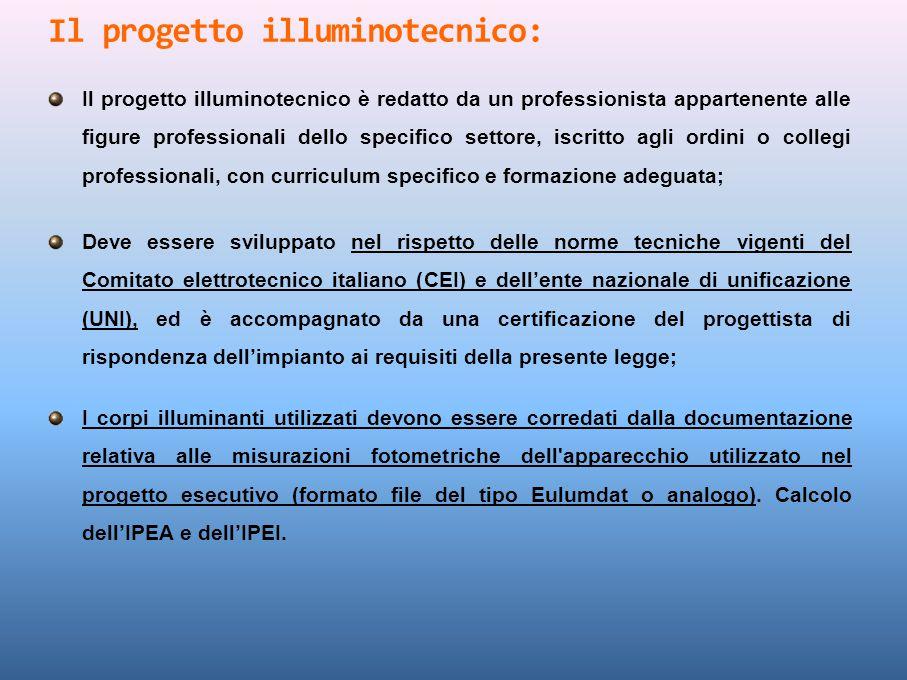 Il progetto illuminotecnico è redatto da un professionista appartenente alle figure professionali dello specifico settore, iscritto agli ordini o coll