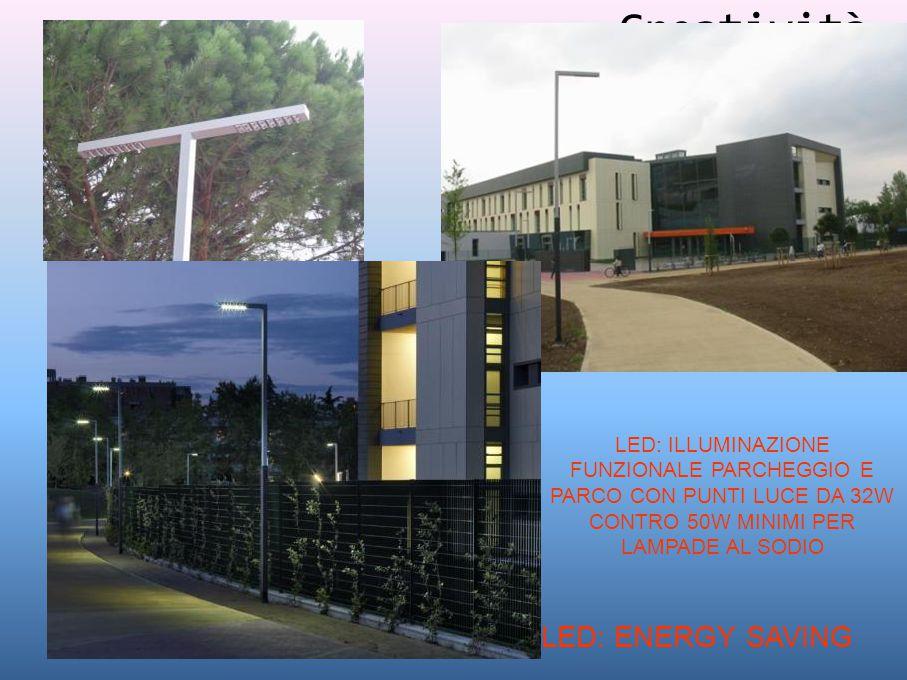 Creatività LED: ILLUMINAZIONE FUNZIONALE PARCHEGGIO E PARCO CON PUNTI LUCE DA 32W CONTRO 50W MINIMI PER LAMPADE AL SODIO LED: ENERGY SAVING