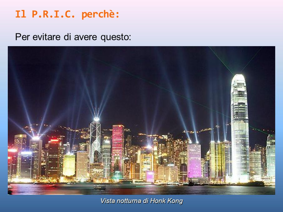 Il P.R.I.C. perchè: Per evitare di avere questo: Vista notturna di Honk Kong