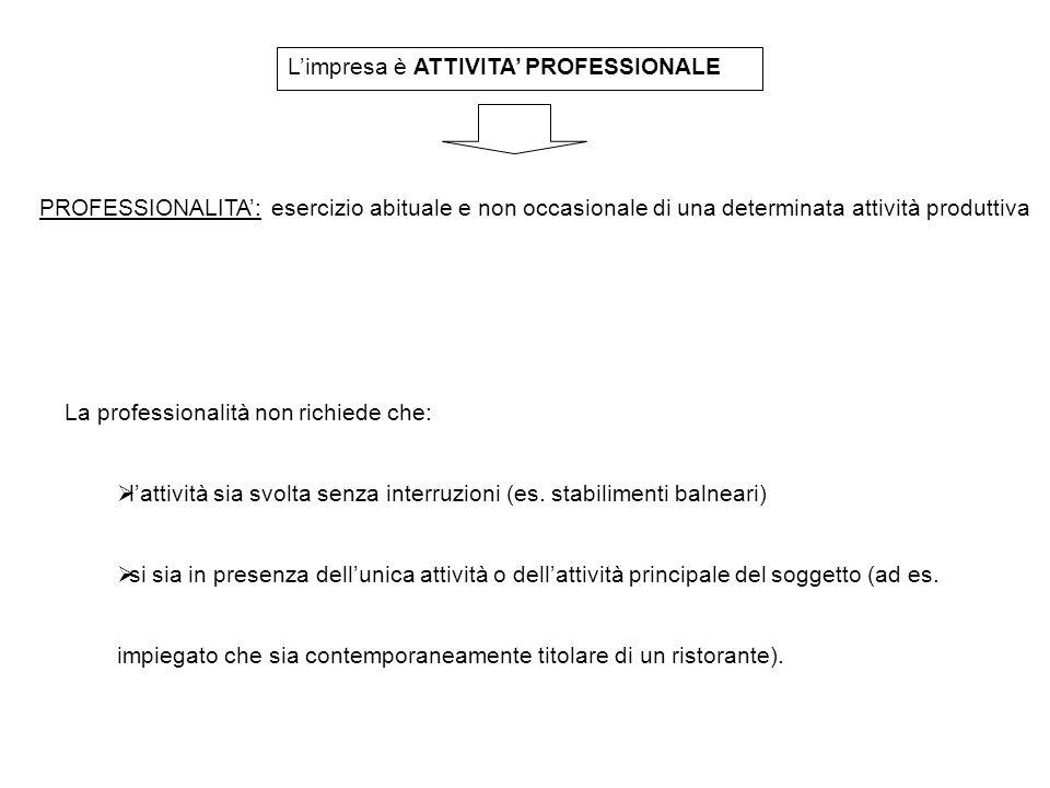 L'impresa è ATTIVITA' PROFESSIONALE PROFESSIONALITA': esercizio abituale e non occasionale di una determinata attività produttiva La professionalità n
