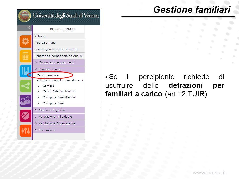 www.cineca.it Gestione familiari Se il percipiente richiede di usufruire delle detrazioni per familiari a carico (art 12 TUIR)