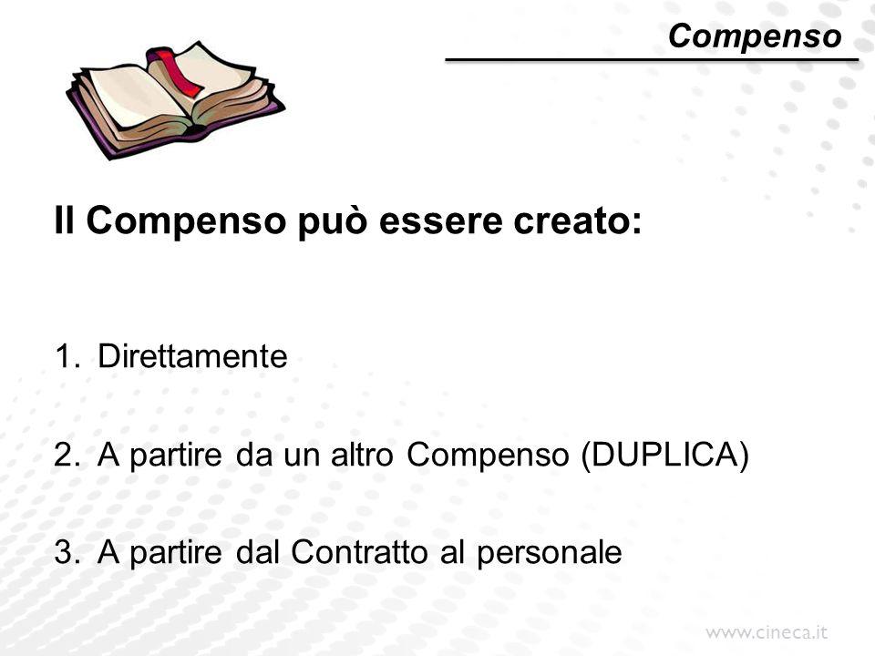 www.cineca.it Compenso Il Compenso può essere creato: 1.Direttamente 2.A partire da un altro Compenso (DUPLICA) 3.A partire dal Contratto al personale