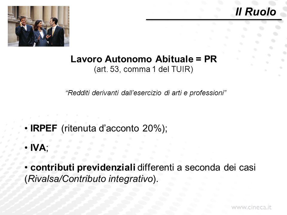 """www.cineca.it Lavoro Autonomo Abituale = PR (art. 53, comma 1 del TUIR) """"Redditi derivanti dall'esercizio di arti e professioni"""" IRPEF (ritenuta d'acc"""