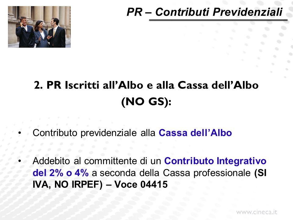 www.cineca.it PR – Contributi Previdenziali 2. PR Iscritti all'Albo e alla Cassa dell'Albo (NO GS): Contributo previdenziale alla Cassa dell'Albo Adde