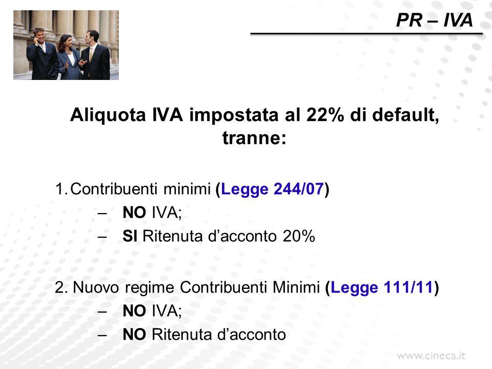 www.cineca.it PR – IVA Aliquota IVA impostata al 22% di default, tranne: 1.Contribuenti minimi (Legge 244/07) –NO IVA; –SI Ritenuta d'acconto 20% 2. N