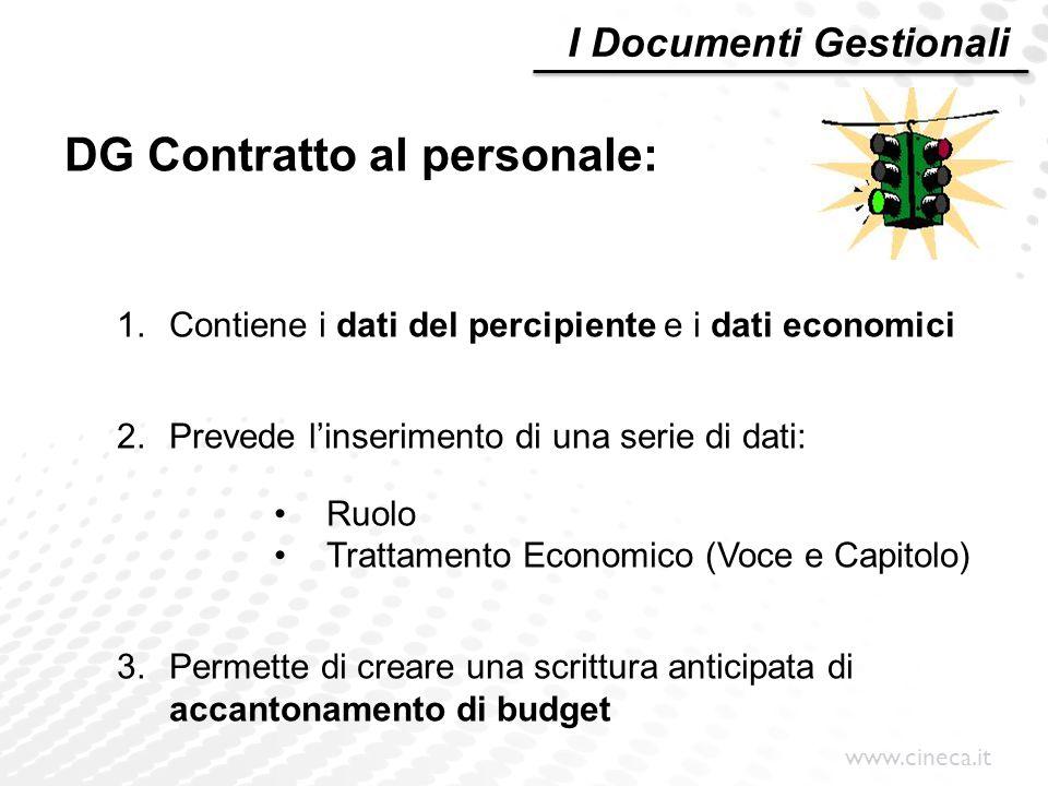 www.cineca.it DG Contratto al personale: 1.Contiene i dati del percipiente e i dati economici 2.Prevede l'inserimento di una serie di dati: Ruolo Trat