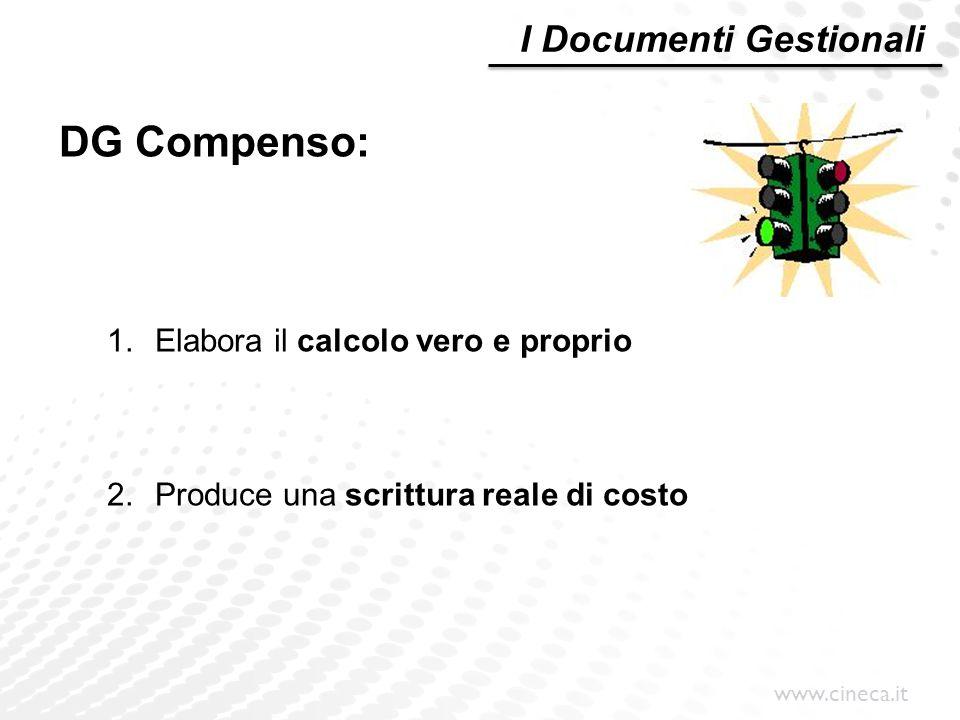 www.cineca.it DG Compenso: 1.Elabora il calcolo vero e proprio 2.Produce una scrittura reale di costo I Documenti Gestionali