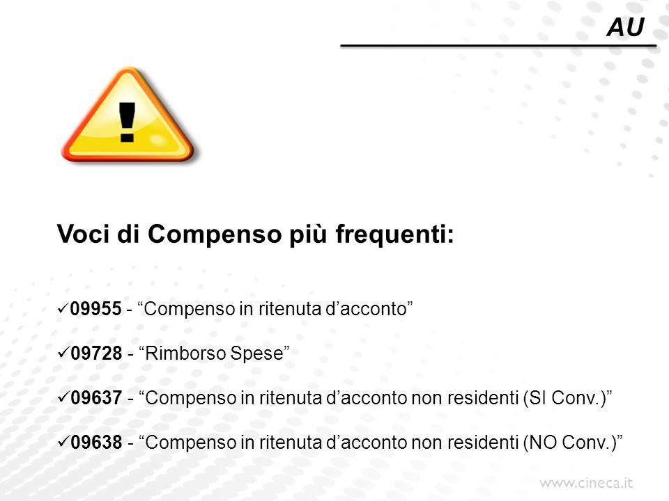 """www.cineca.it Voci di Compenso più frequenti: 09955 - """"Compenso in ritenuta d'acconto"""" 09728 - """"Rimborso Spese"""" 09637 - """"Compenso in ritenuta d'accont"""