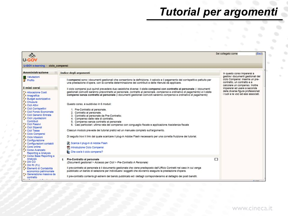 www.cineca.it Tutorial per argomenti