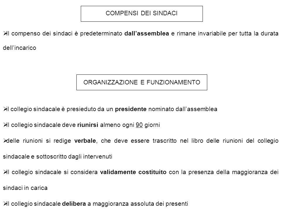 COMPENSI DEI SINDACI  Il compenso dei sindaci è predeterminato dall'assemblea e rimane invariabile per tutta la durata dell'incarico ORGANIZZAZIONE E
