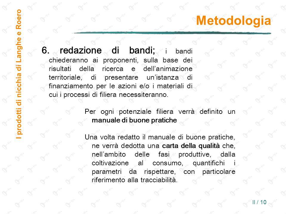 II / 10 Metodologia I prodotti di nicchia di Langhe e Roero 6. redazione di bandi; i bandi chiederanno ai proponenti, sulla base dei risultati della r