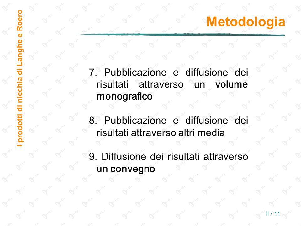 II / 11 Metodologia I prodotti di nicchia di Langhe e Roero 7. Pubblicazione e diffusione dei risultati attraverso un volume monografico 8. Pubblicazi