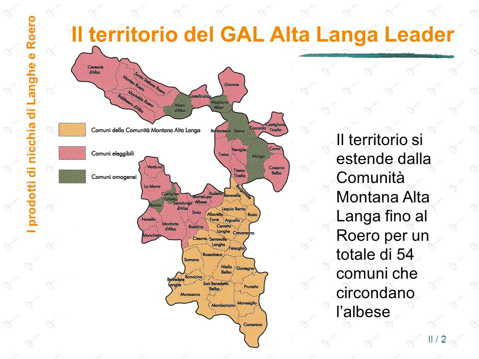 II / 2 Il territorio si estende dalla Comunità Montana Alta Langa fino al Roero per un totale di 54 comuni che circondano l'albese I prodotti di nicchia di Langhe e Roero Il territorio del GAL Alta Langa Leader