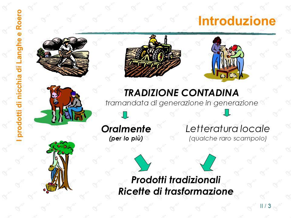II / 3 TRADIZIONE CONTADINA tramandata di generazione in generazione Introduzione I prodotti di nicchia di Langhe e Roero Oralmente (per lo più) Lette