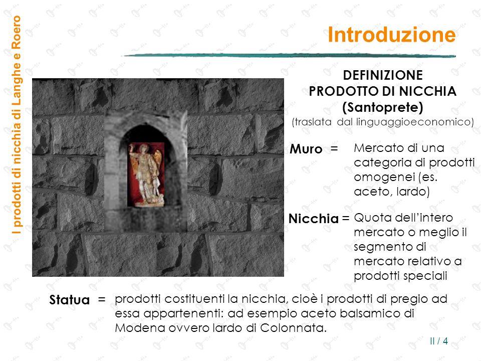 II / 4 Introduzione I prodotti di nicchia di Langhe e Roero DEFINIZIONE PRODOTTO DI NICCHIA (Santoprete) (traslata dal linguaggioeconomico) Muro = Mercato di una categoria di prodotti omogenei (es.