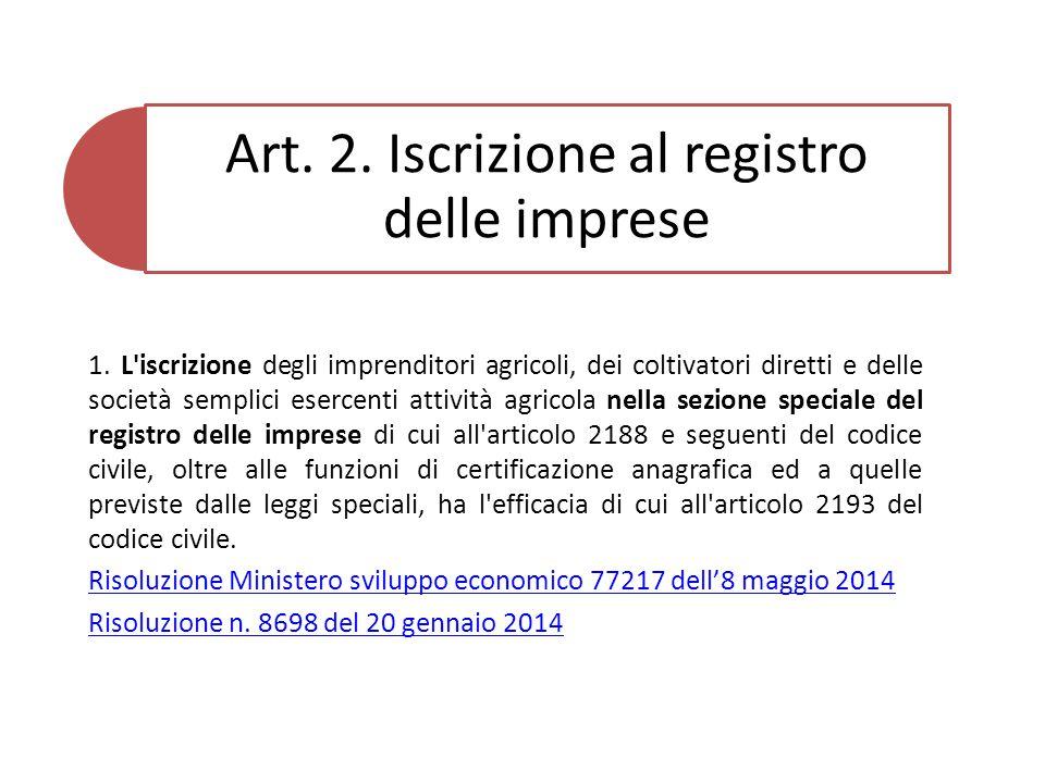 Art. 2. Iscrizione al registro delle imprese 1.