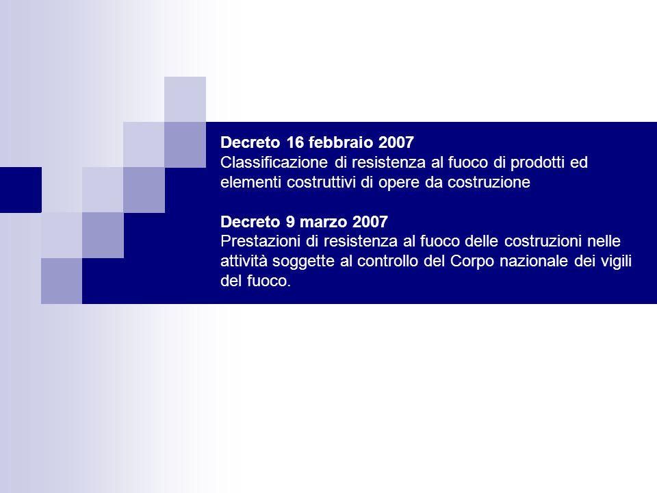 Decreto 16 febbraio 2007 Classificazione di resistenza al fuoco di prodotti ed elementi costruttivi di opere da costruzione Decreto 9 marzo 2007 Prest