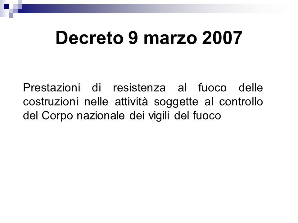 Decreto 9 marzo 2007 Prestazioni di resistenza al fuoco delle costruzioni nelle attività soggette al controllo del Corpo nazionale dei vigili del fuoc