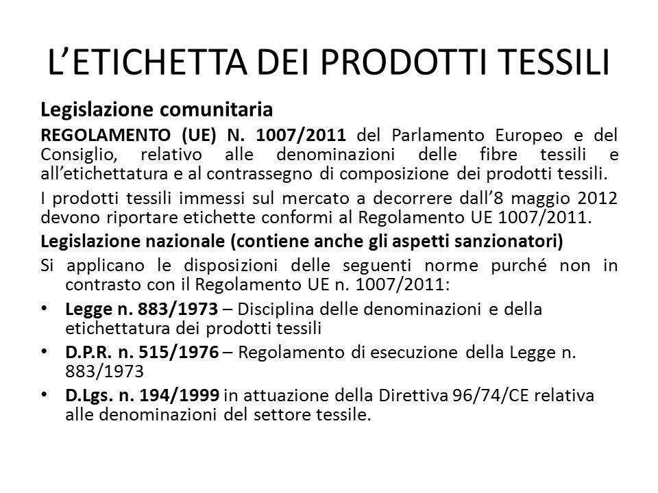 L'ETICHETTA DEI PRODOTTI TESSILI Legislazione comunitaria REGOLAMENTO (UE) N. 1007/2011 del Parlamento Europeo e del Consiglio, relativo alle denomina