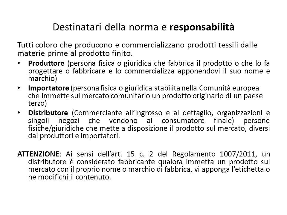 Destinatari della norma e responsabilità Tutti coloro che producono e commercializzano prodotti tessili dalle materie prime al prodotto finito. Produt