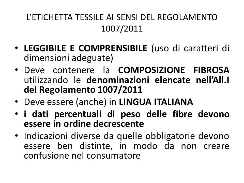 L'ETICHETTA TESSILE AI SENSI DEL REGOLAMENTO 1007/2011 LEGGIBILE E COMPRENSIBILE (uso di caratteri di dimensioni adeguate) Deve contenere la COMPOSIZI