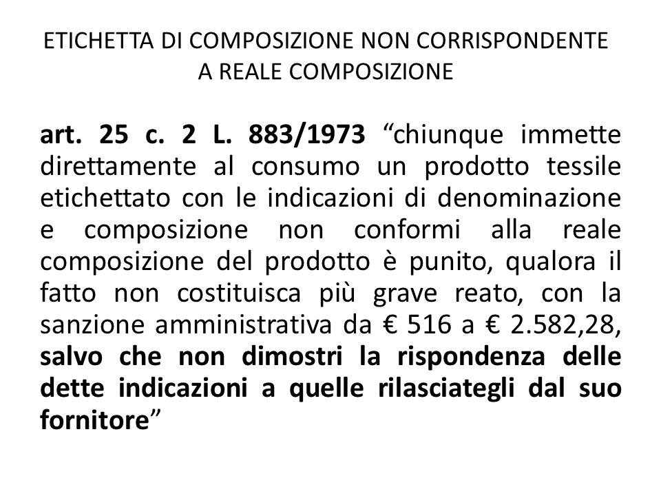 """ETICHETTA DI COMPOSIZIONE NON CORRISPONDENTE A REALE COMPOSIZIONE art. 25 c. 2 L. 883/1973 """"chiunque immette direttamente al consumo un prodotto tessi"""
