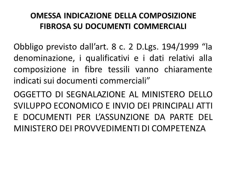"""OMESSA INDICAZIONE DELLA COMPOSIZIONE FIBROSA SU DOCUMENTI COMMERCIALI Obbligo previsto dall'art. 8 c. 2 D.Lgs. 194/1999 """"la denominazione, i qualific"""