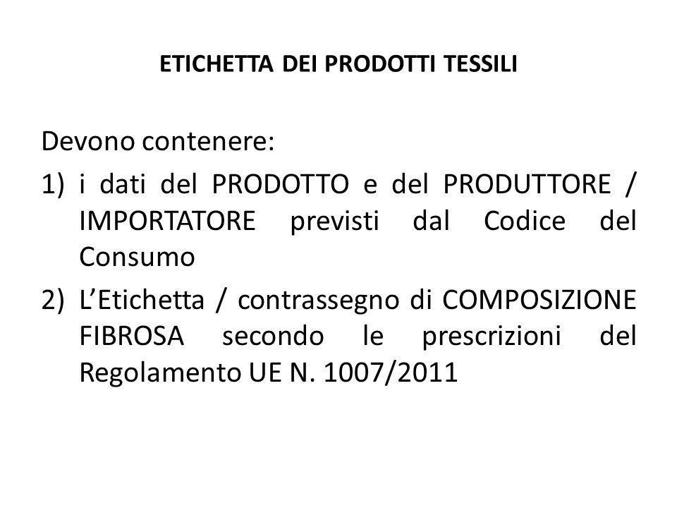 ETICHETTA DEI PRODOTTI TESSILI Devono contenere: 1)i dati del PRODOTTO e del PRODUTTORE / IMPORTATORE previsti dal Codice del Consumo 2)L'Etichetta /