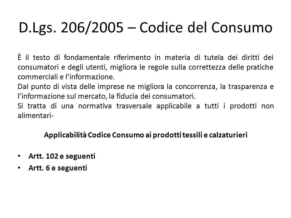 D.Lgs. 206/2005 – Codice del Consumo È il testo di fondamentale riferimento in materia di tutela dei diritti dei consumatori e degli utenti, migliora