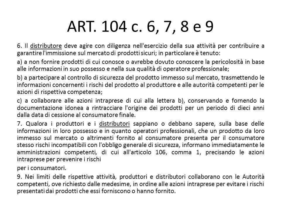 ART. 104 c. 6, 7, 8 e 9 6. Il distributore deve agire con diligenza nell'esercizio della sua attività per contribuire a garantire l'immissione sul mer