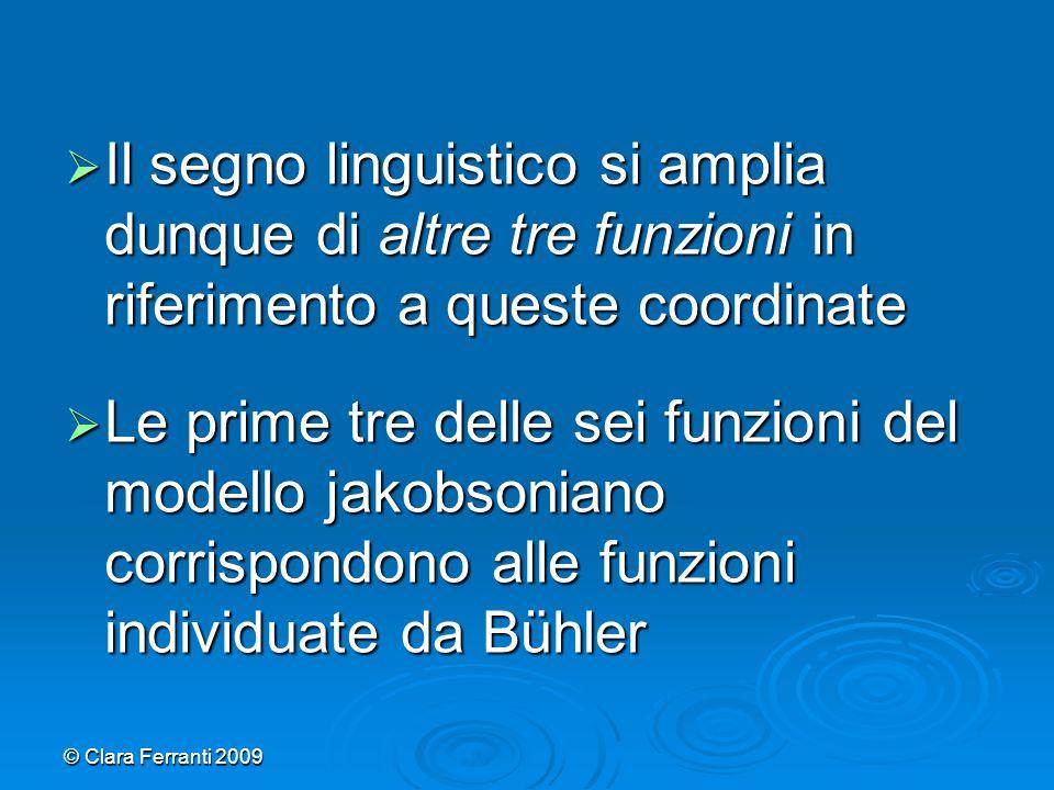 © Clara Ferranti 2009  Il segno linguistico si amplia dunque di altre tre funzioni in riferimento a queste coordinate  Le prime tre delle sei funzio