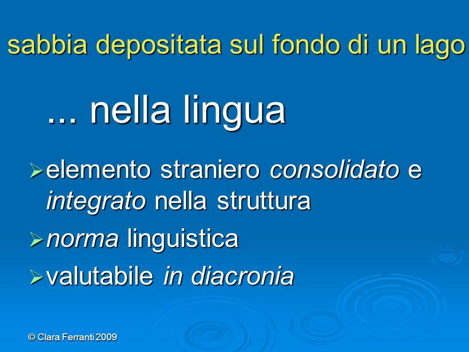 © Clara Ferranti 2009 sabbia depositata sul fondo di un lago... nella lingua  elemento straniero consolidato e integrato nella struttura  norma ling