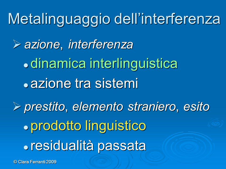 © Clara Ferranti 2009 Metalinguaggio dell'interferenza  azione, interferenza dinamica interlinguistica dinamica interlinguistica azione tra sistemi a