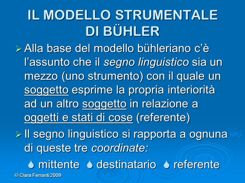 © Clara Ferranti 2009 IL MODELLO STRUMENTALE DI BÜHLER  Alla base del modello bühleriano c'è l'assunto che il segno linguistico sia un mezzo (uno str