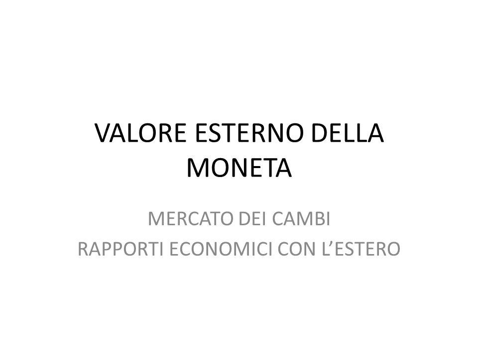 VALORE ESTERNO DELLA MONETA MERCATO DEI CAMBI RAPPORTI ECONOMICI CON L'ESTERO