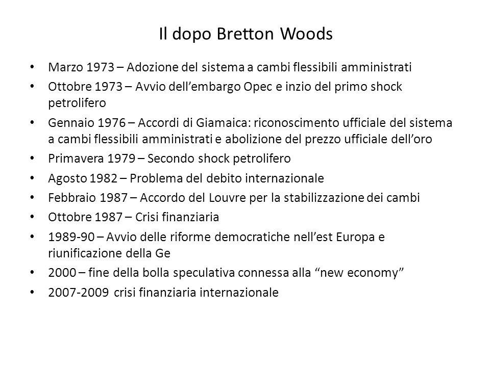 Il dopo Bretton Woods Marzo 1973 – Adozione del sistema a cambi flessibili amministrati Ottobre 1973 – Avvio dell'embargo Opec e inzio del primo shock