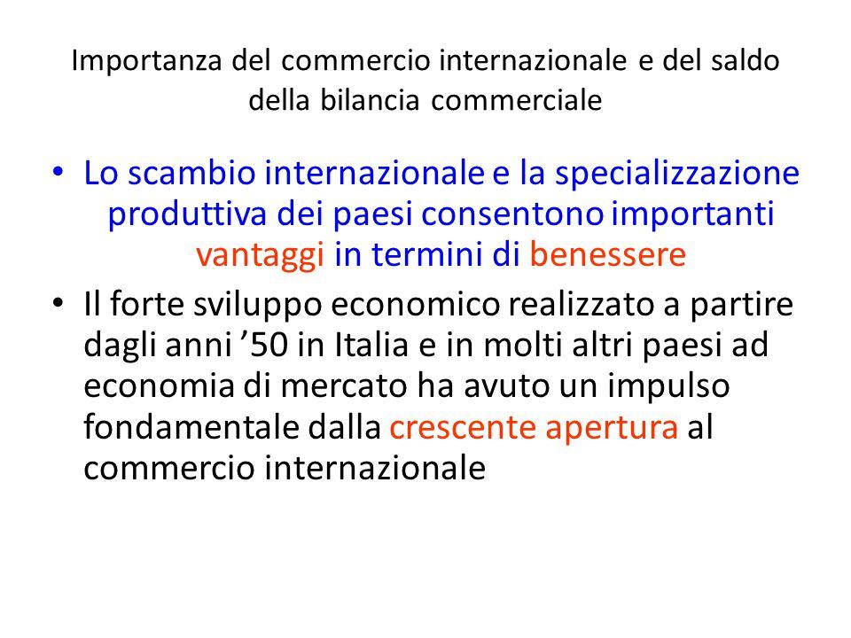Importanza del commercio internazionale e del saldo della bilancia commerciale Lo scambio internazionale e la specializzazione produttiva dei paesi co