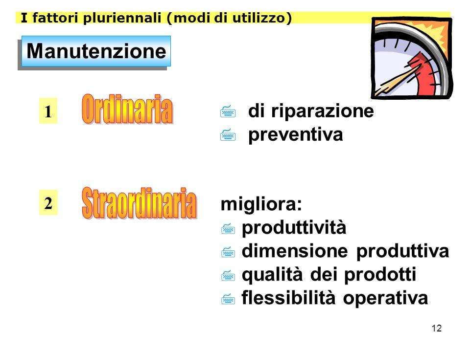12 I fattori pluriennali (modi di utilizzo) Manutenzione 1 2 7 di riparazione 7 preventiva migliora: 7 produttività 7 dimensione produttiva 7 qualità