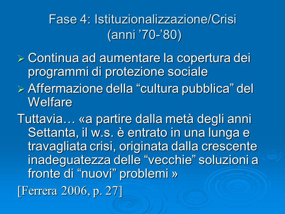 """Fase 4: Istituzionalizzazione/Crisi (anni '70-'80)  Continua ad aumentare la copertura dei programmi di protezione sociale  Affermazione della """"cult"""