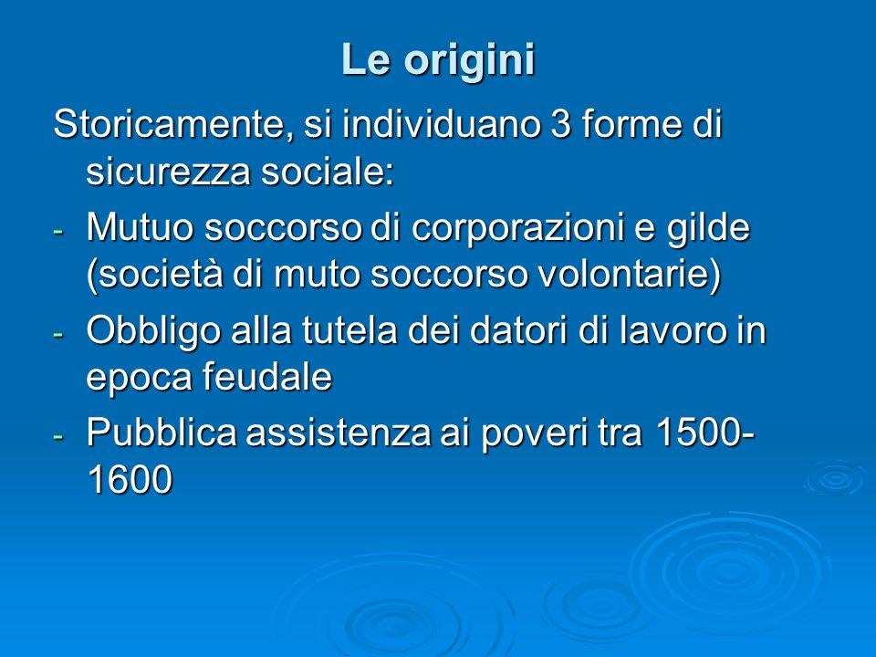 Le origini Storicamente, si individuano 3 forme di sicurezza sociale: - Mutuo soccorso di corporazioni e gilde (società di muto soccorso volontarie) -