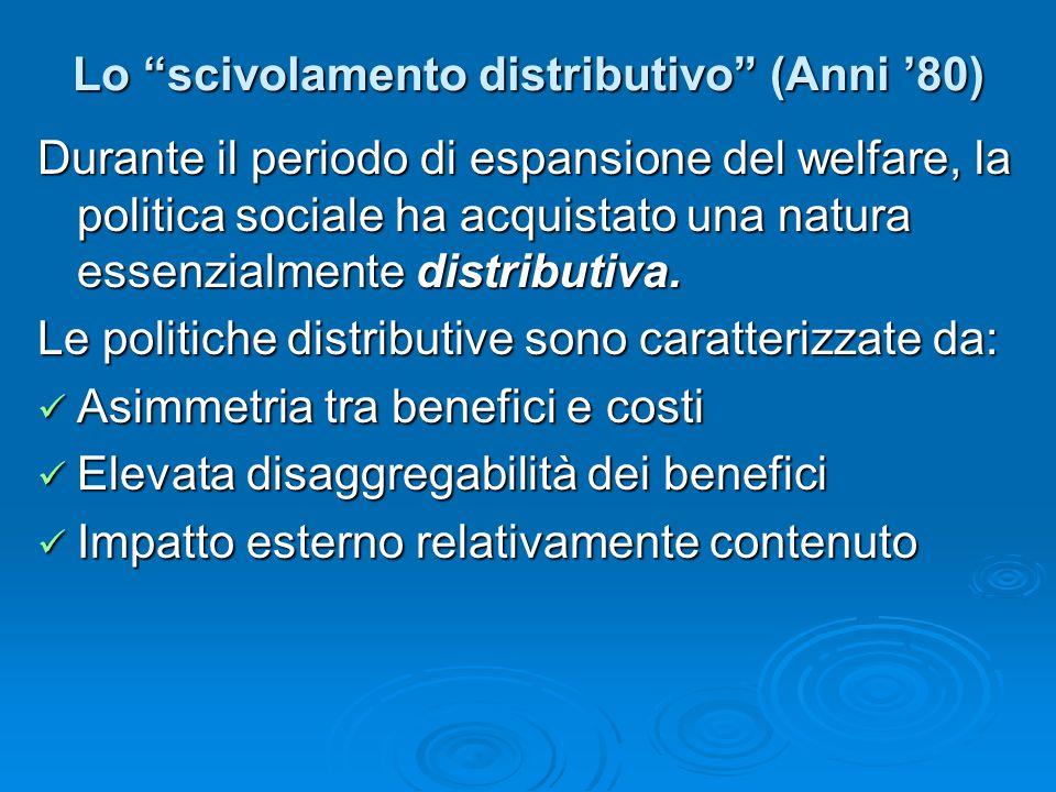 """Lo """"scivolamento distributivo"""" (Anni '80) Durante il periodo di espansione del welfare, la politica sociale ha acquistato una natura essenzialmente di"""
