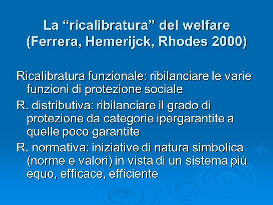 """La """"ricalibratura"""" del welfare (Ferrera, Hemerijck, Rhodes 2000) Ricalibratura funzionale: ribilanciare le varie funzioni di protezione sociale R. dis"""