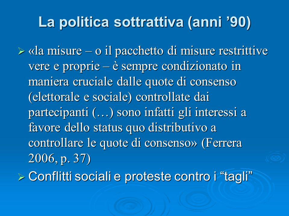 La politica sottrattiva (anni '90)  «la misure – o il pacchetto di misure restrittive vere e proprie – è sempre condizionato in maniera cruciale dall