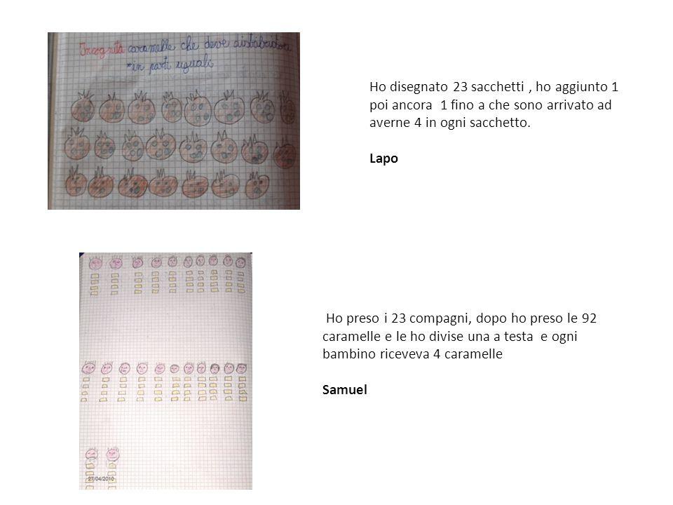 Prima ho disegnato le faccine dei 23 compagni e ho distribuito le caramelle fila per fila fino a che non le ho finite; infine ho contato le caramelle nelle colonne ed erano 4, quindi 4 caramelle per ogni compagno.