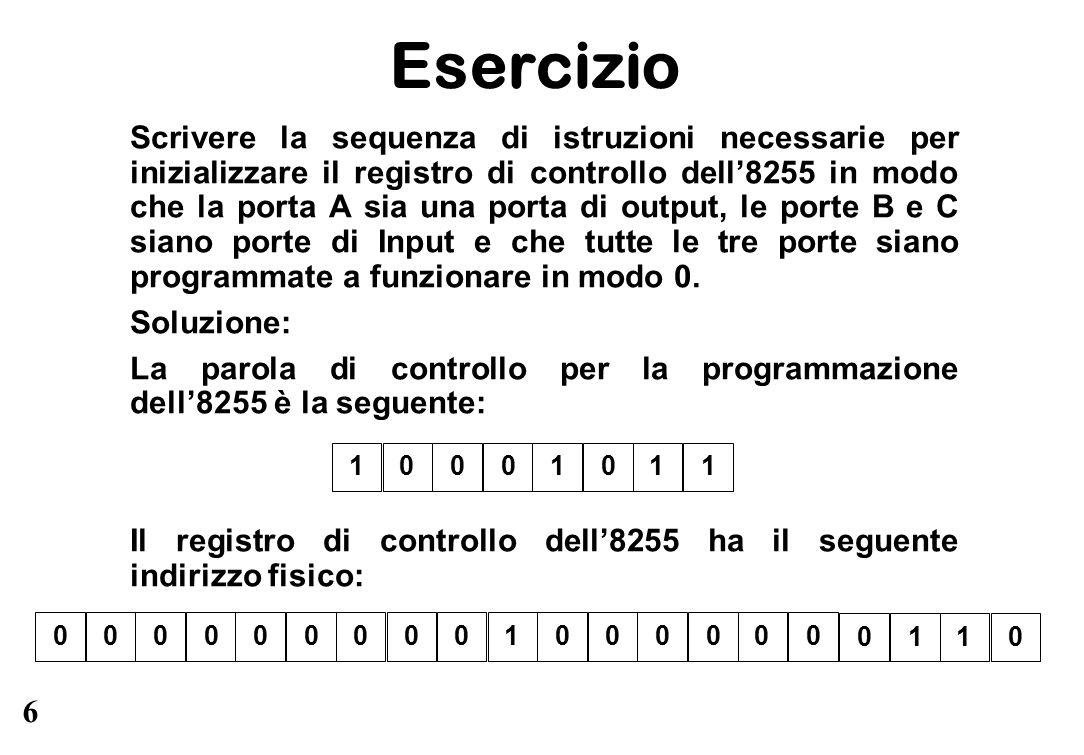 6 Esercizio Scrivere la sequenza di istruzioni necessarie per inizializzare il registro di controllo dell'8255 in modo che la porta A sia una porta di output, le porte B e C siano porte di Input e che tutte le tre porte siano programmate a funzionare in modo 0.