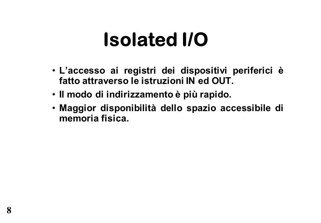 8 Isolated I/O L'accesso ai registri dei dispositivi periferici è fatto attraverso le istruzioni IN ed OUT. Il modo di indirizzamento è più rapido. Ma