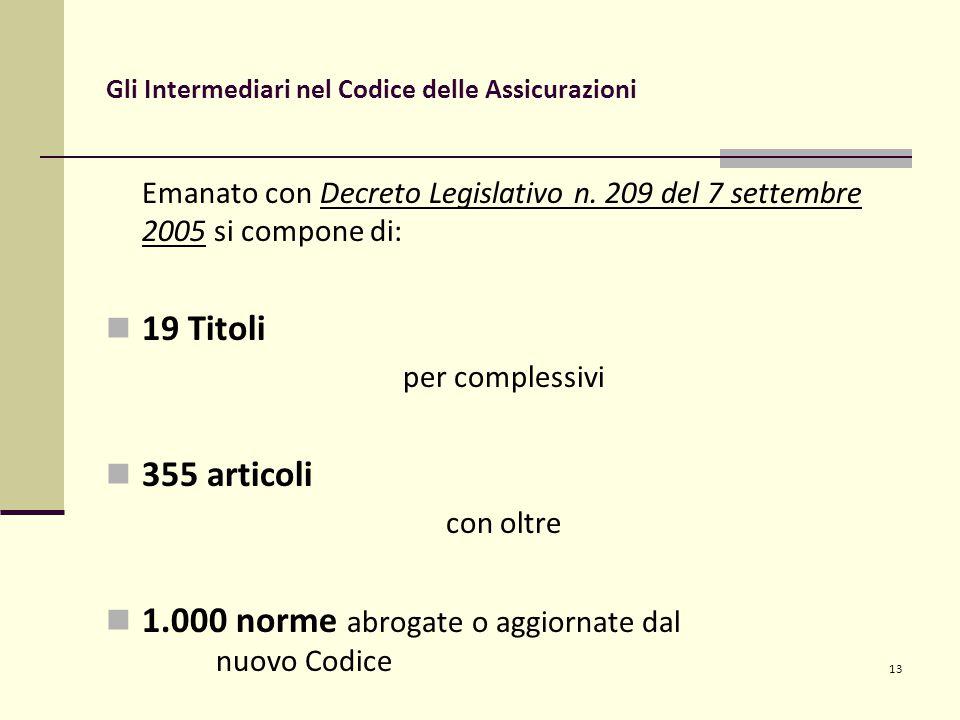 13 Gli Intermediari nel Codice delle Assicurazioni Emanato con Decreto Legislativo n.